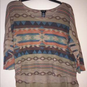 Warm Tribal Rue 21 3/4 Sleeve Shirt